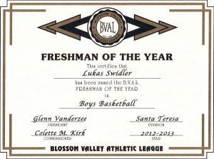 2012-2013 Freshmen Of The Year