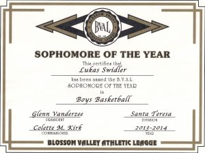 2013-2014 Sophomore Of The Year